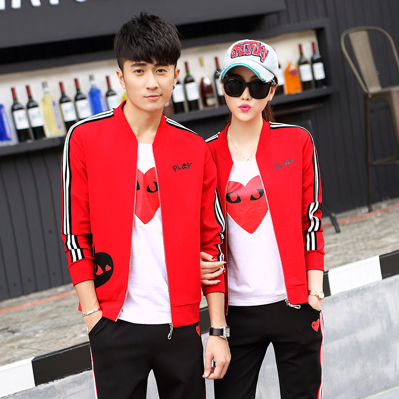 2016 spring and autumn new couple wei clothes for men and women long sleeve three sets of fashion sports suit korean version of casual clothes autumn