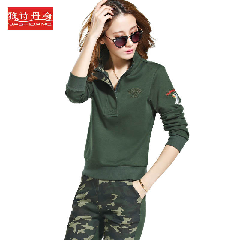 2016 spring and autumn new fashion casual clothes camouflage collar long sleeve pullover pants suit female casual clothes sports suit