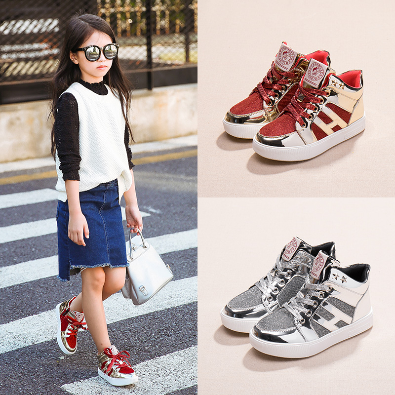 2016 spring and autumn new girls sports shoes children's shoes children's shoes children's shoes korean version of casual shoes tide