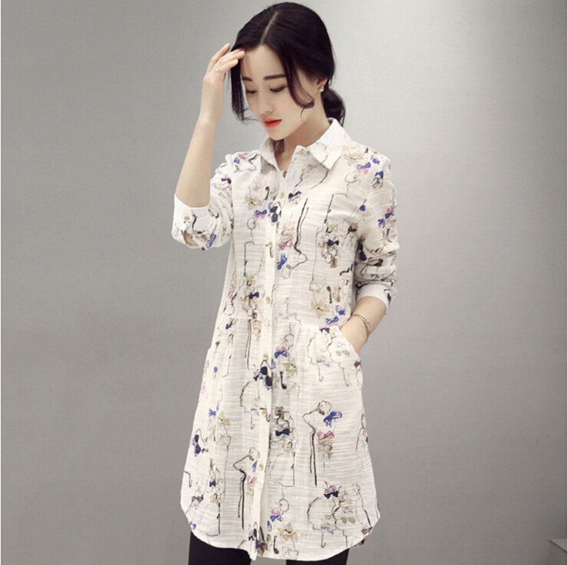2016 spring and autumn new korean fan wild loose shirt printing female long section of the korean version of sleeved shirt temperament tide