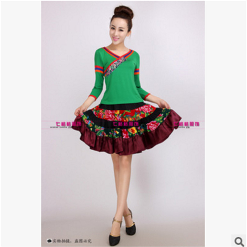 2016 spring and autumn new performance clothing square dance tibetan dance clothing dance clothes suit the new summer dress suit