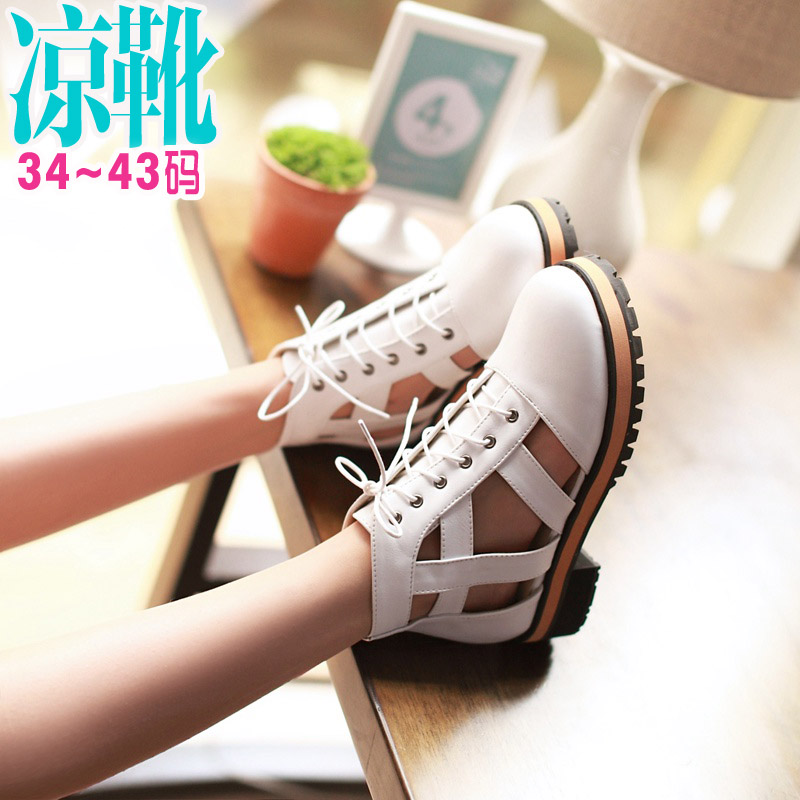 573d34e5bb4 Get Quotations · 2016 spring and summer fashion ladies sandals hollow female  cool boots low heel lace baotou sandals