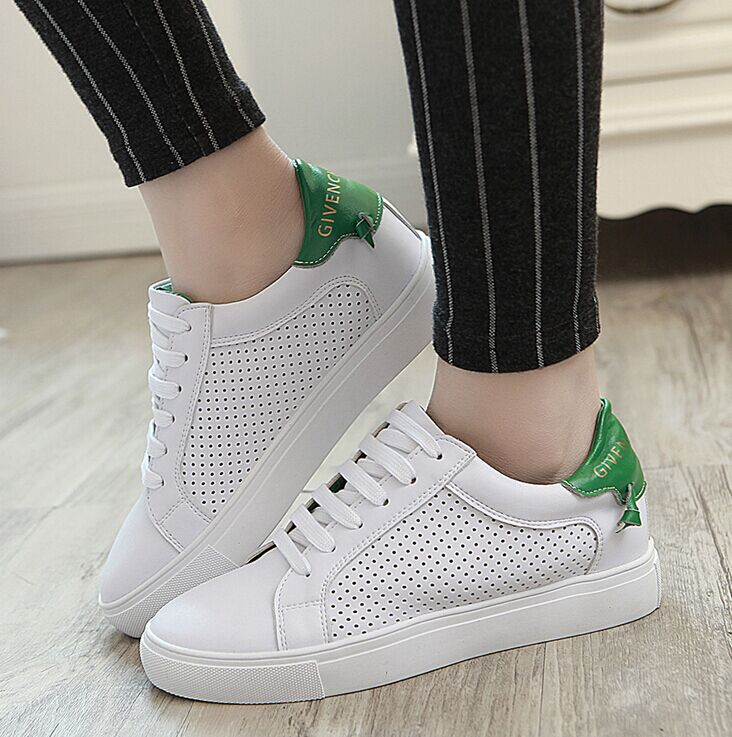 2016 spring and summer flat casual shoes loafers shoes hollow leather shoes white shoes shoes running shoes student shoes