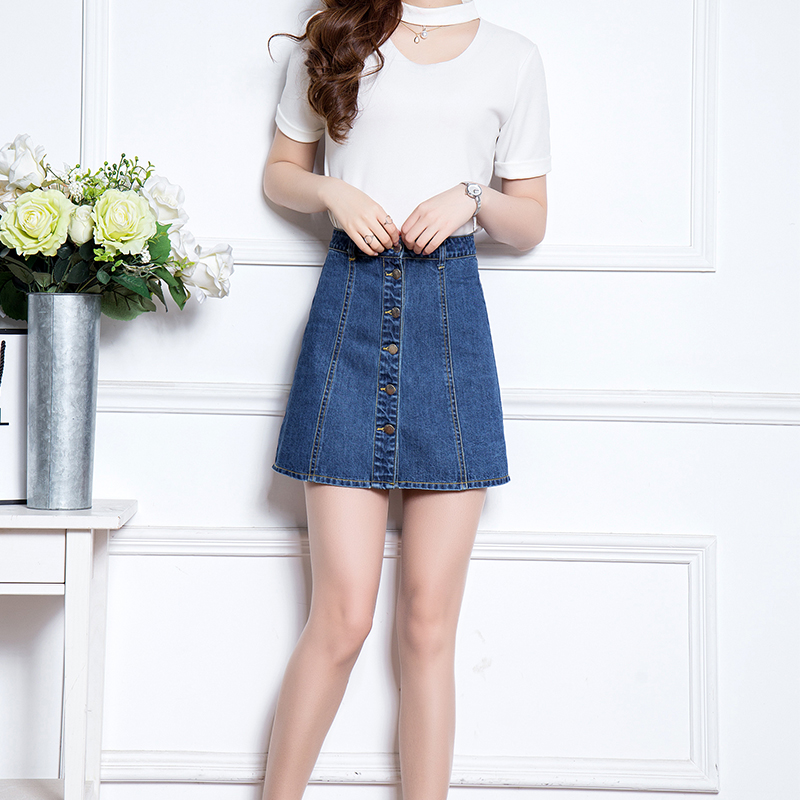 2016 spring and summer new female was thin waist denim skirt single breasted korean version was thin a word skirt umbrella skirt tide