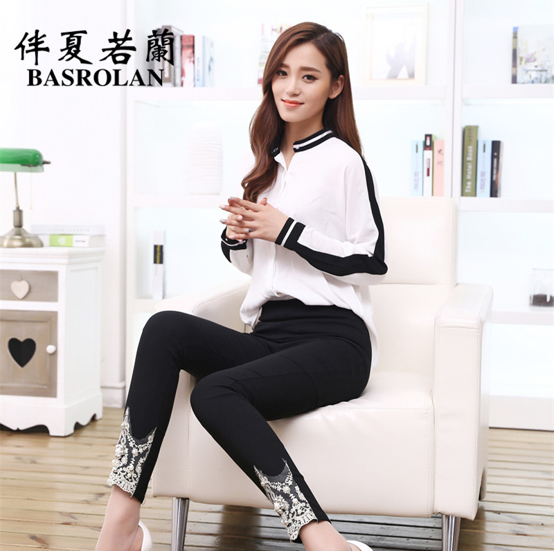 2016 spring and summer new korean version was thin lace pants feet nine outer wear leggings thin section ms. wear beads handmade
