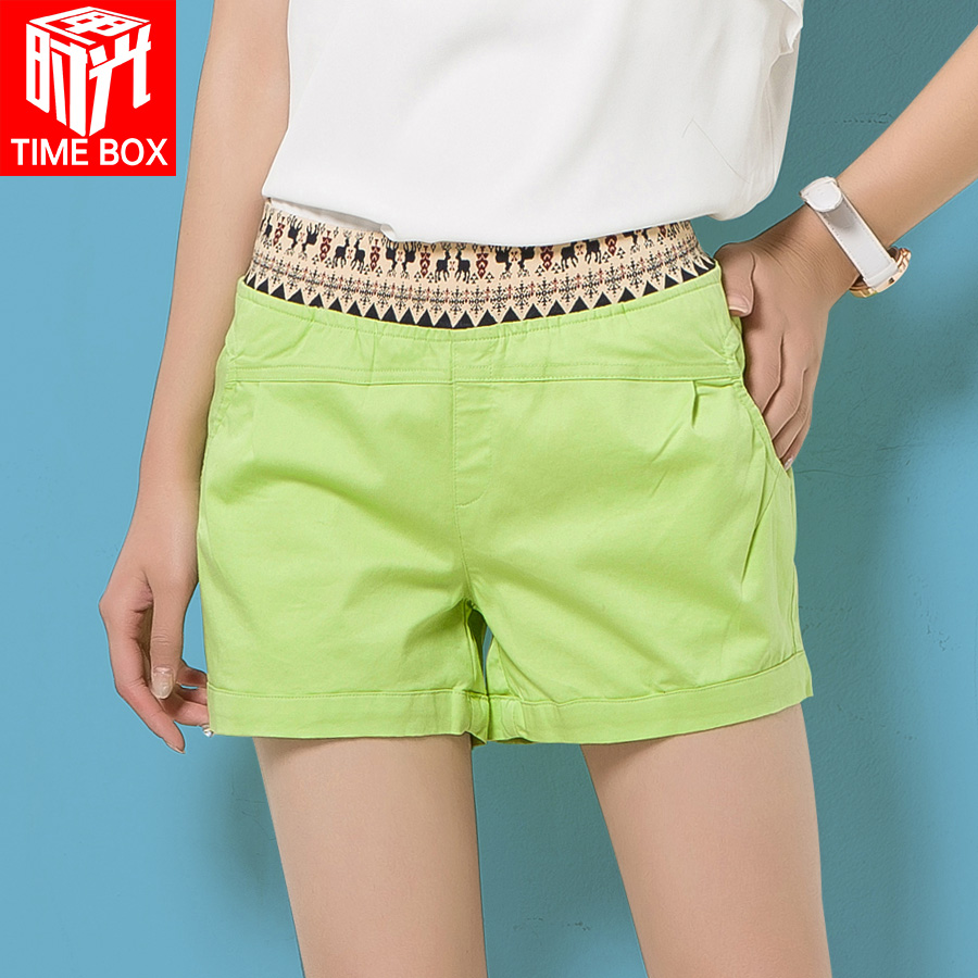 2016 spring and summer new large size loose wide leg pants female korean version was thin curling leisure candy colored fresh shorts