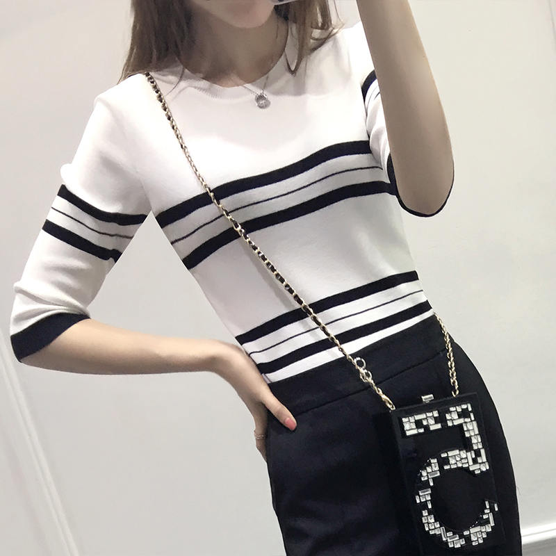 Get Quotations · 2016 spring and summer new women black and white striped  round neck thin knit sweater female ca49ab281