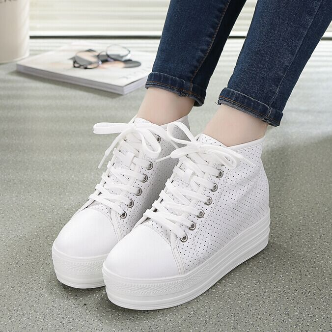 2016 spring and summer thick crust leather platform shoes women students hollow white lace shoes women high help shoes shoes travel shoes