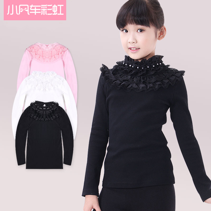2016 spring and winter lace and a half high collar bottoming shirt big boy girls bottoming children clothing long sleeve t-shirt big yards