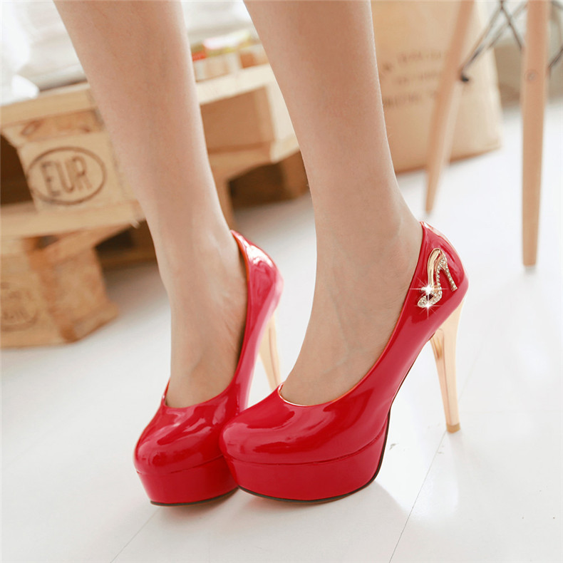 2016 spring models 13.07ct 5cm fine with super high heels shoes round waterproof shoes gold shoes red diamond wedding shoes party shoes