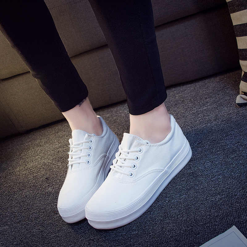 2016 spring models round bottomed canvas shoes to help female students shoes casual shoes shoes white shoes flat shoes college
