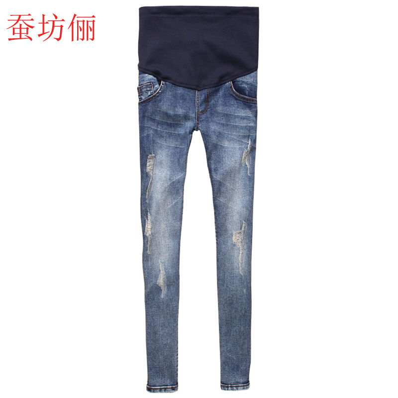 2016 spring new korean fashion hole jeans pants pregnant women trousers care of pregnant women denim pencil pants feet