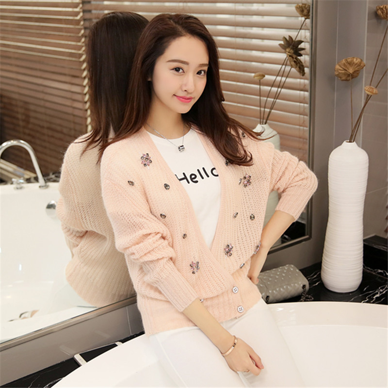Get Quotations · 2016 spring new korean fashion loose sweater coat female  nude pink beaded mohair wool knit cardigan cd42eb658