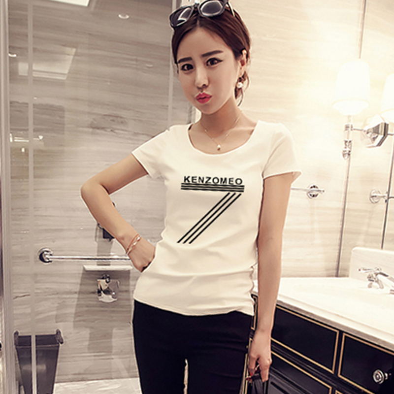 2016 spring new korean version of slim was thin loose cotton short sleeve t-shirt female students on clothes compassionate bottoming shirt female