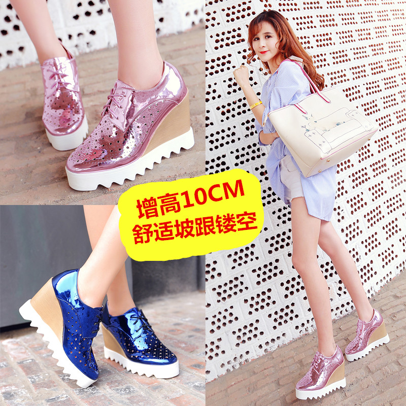 2016 spring new korean version of super high heels wedge heel shoes square head women's shoes hollow comfortable shoes lace shoes influx of students