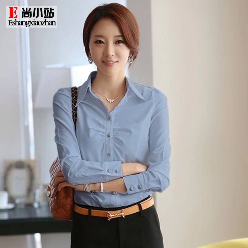 2016 spring new korean version of women long sleeve shirt white shirt bottoming shirt slim professional women work uniforms