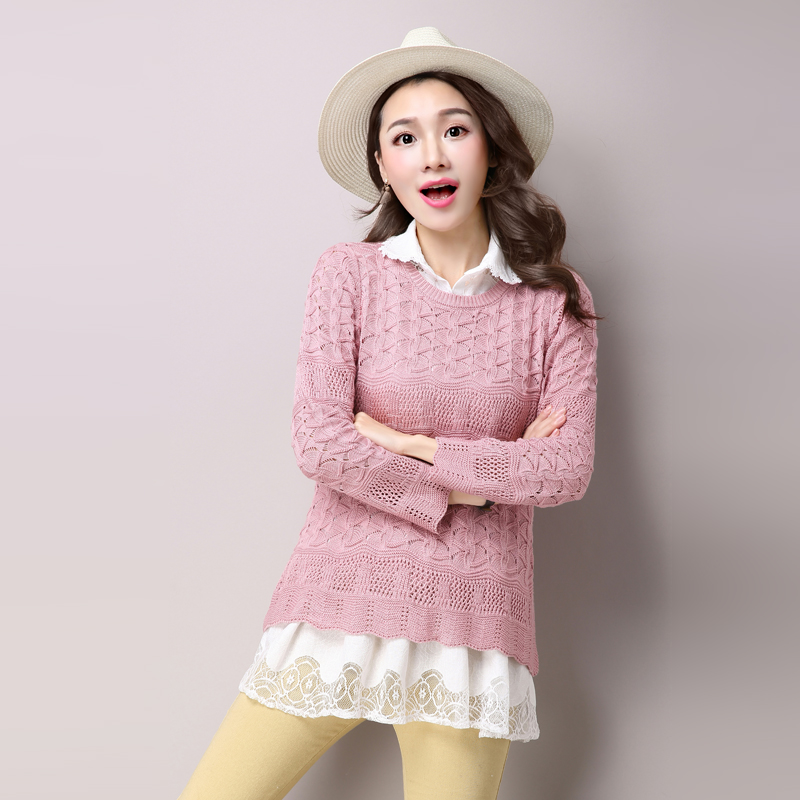 2016 spring new long section of wild sweater knit sweater hollow female korean chiffon shirt two sets of female tide