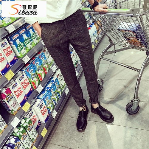 2016 spring new plaid slacks male korean slim pants feet pants male fashion plaid pants tide male british lun