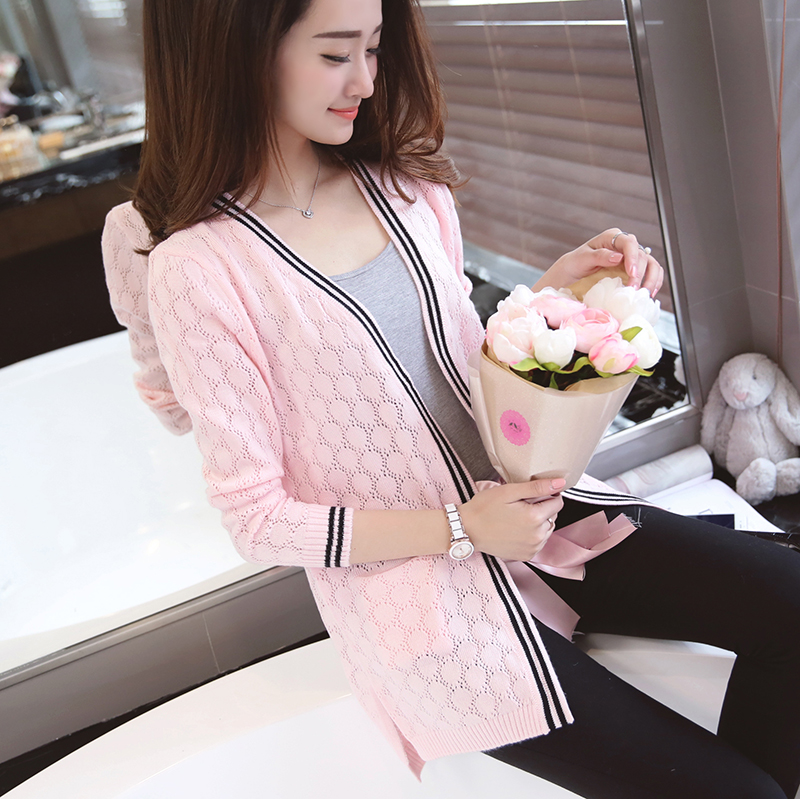 2016 spring new slim thin cardigan sweater coat girls long paragraph korean version of spring and fall outside the ride sweater new