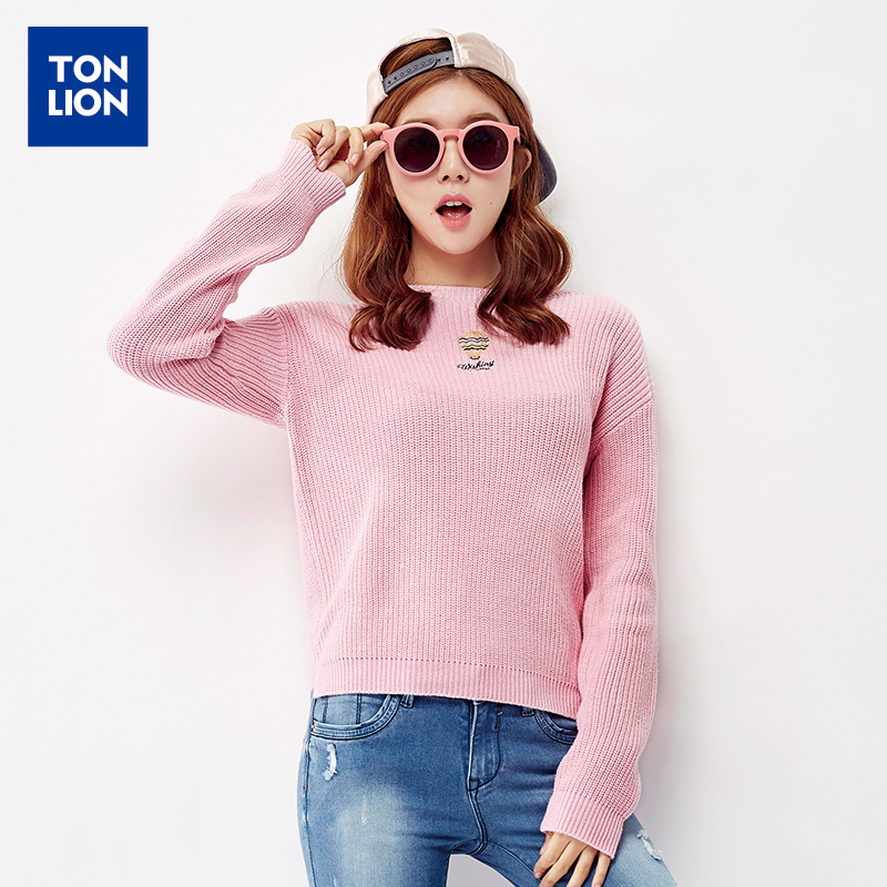 2016 spring new sweater female embroidery round neck solid color macarons sweet korean version of casual sweater knit sweater