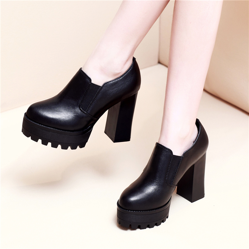 2016 spring shoes thick with high heels shoes thick with round leather shoes women shoes women high heels thick crust waterproof