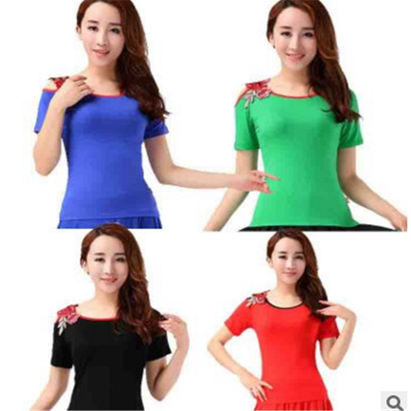 2016 square dance clothing women square dance performance clothing dance clothing embroidered short sleeve t-shirt summer new dew shoulder