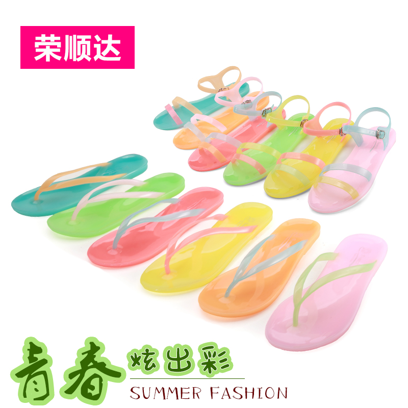 1d9700544 Get Quotations · 2016 summer korean version of ms. beach sandals crystal jelly  sandals flat sandals and slippers