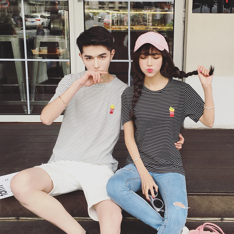 2016 summer lovers korean slim striped short sleeve t-shirt college men and women casual round neck short sleeve tee
