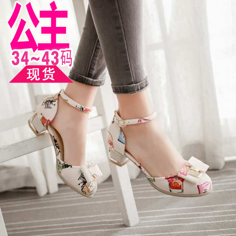 2ad3a8fb5 Get Quotations · 2016 summer models cute flowers baotou sandals girls  sandals princess bow buckle shoes with a low