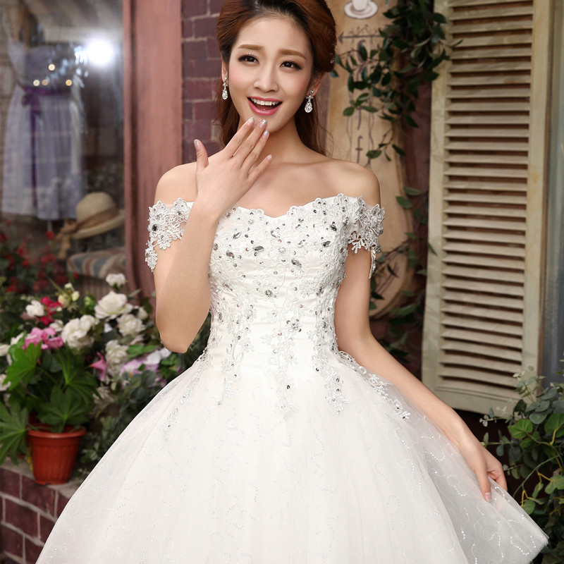 2016 summer new bride wedding dress korean word shoulder was thin lace yarn princess diamond wedding dress qi