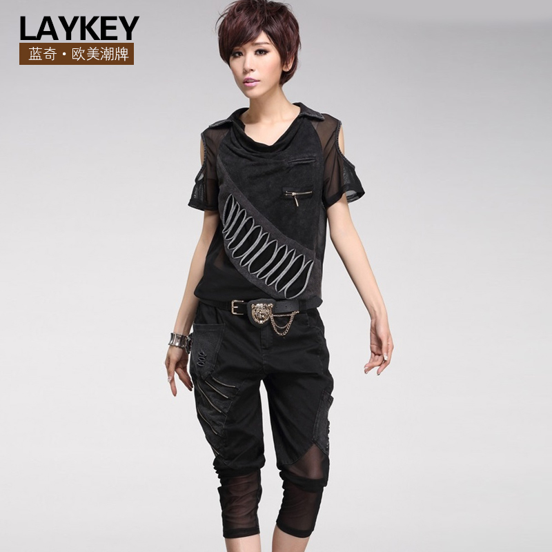 2016 summer new european leg short sleeve t-shirt personality collapse pants harem pants pant women's casual pants suit