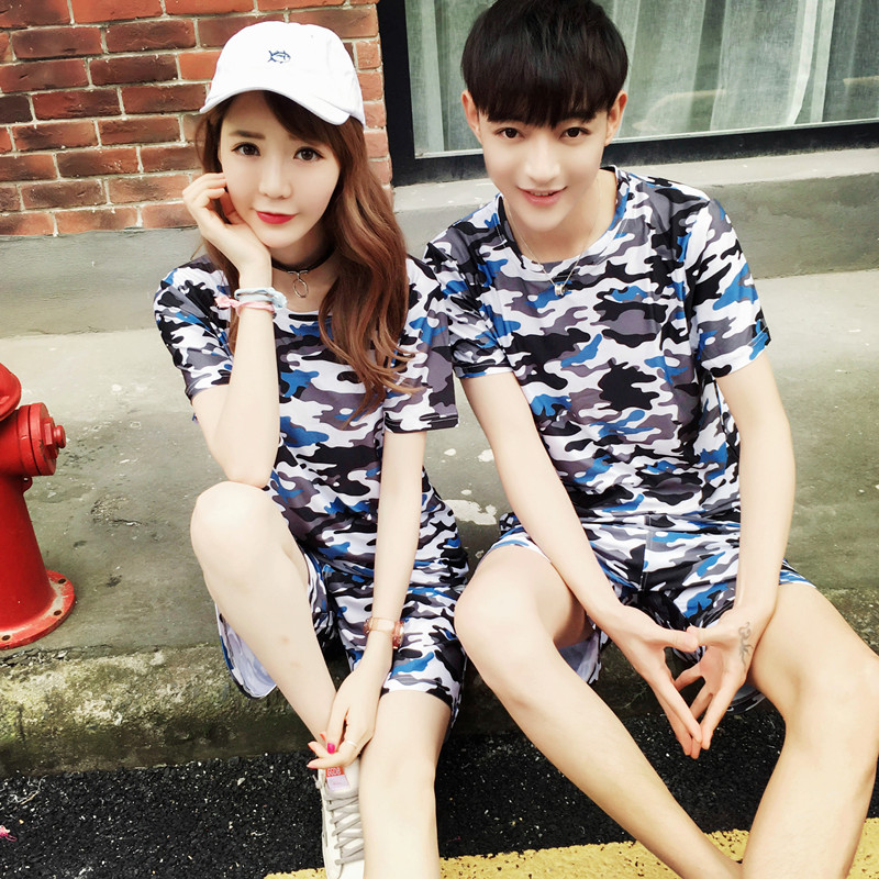 2016 summer new fashion teenagers casual couples suite slim camouflage short sleeve t-shirt shorts suit