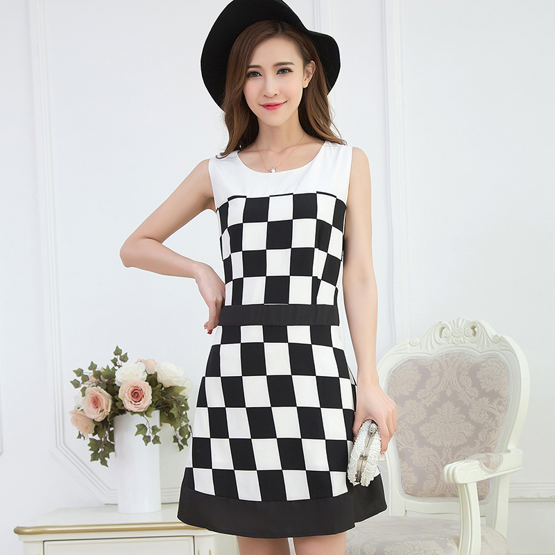 2016 summer new fat sister fertilizer to increase size women 200 fat mm black and white grid chiffon dress tide