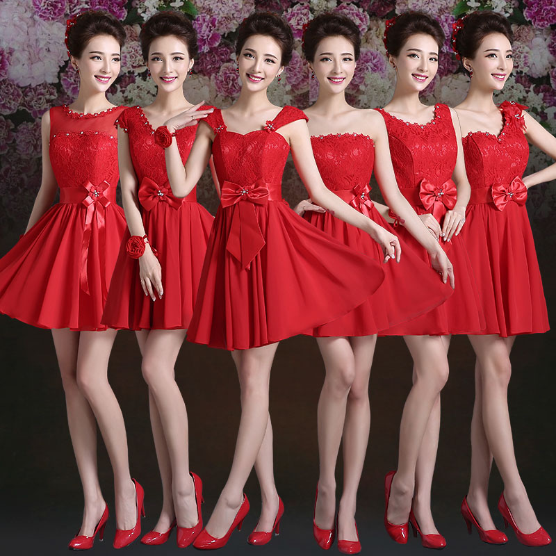 2016 summer new group bridesmaid dress bridesmaid dress short paragraph bride wedding toast served with red wedding dress