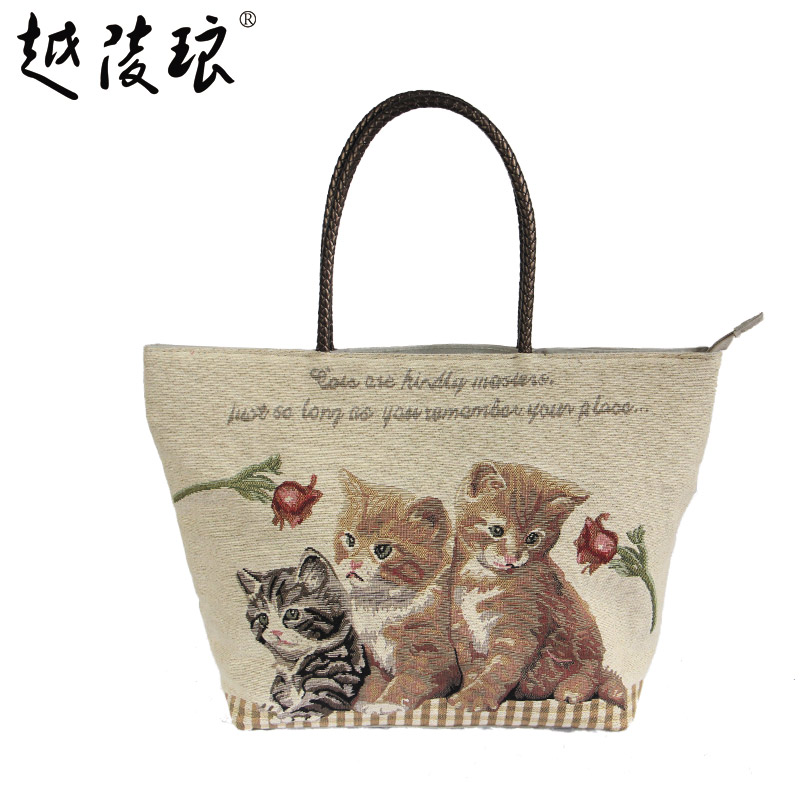 2016 summer new handbag cute cartoon cat canvas bag handbag bag korean fashion casual hand bag