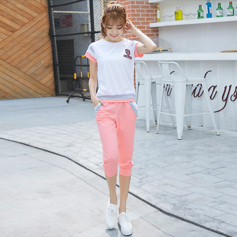 2016 summer new korean girls junior high school students cute fashion sports leisure suit pant piece
