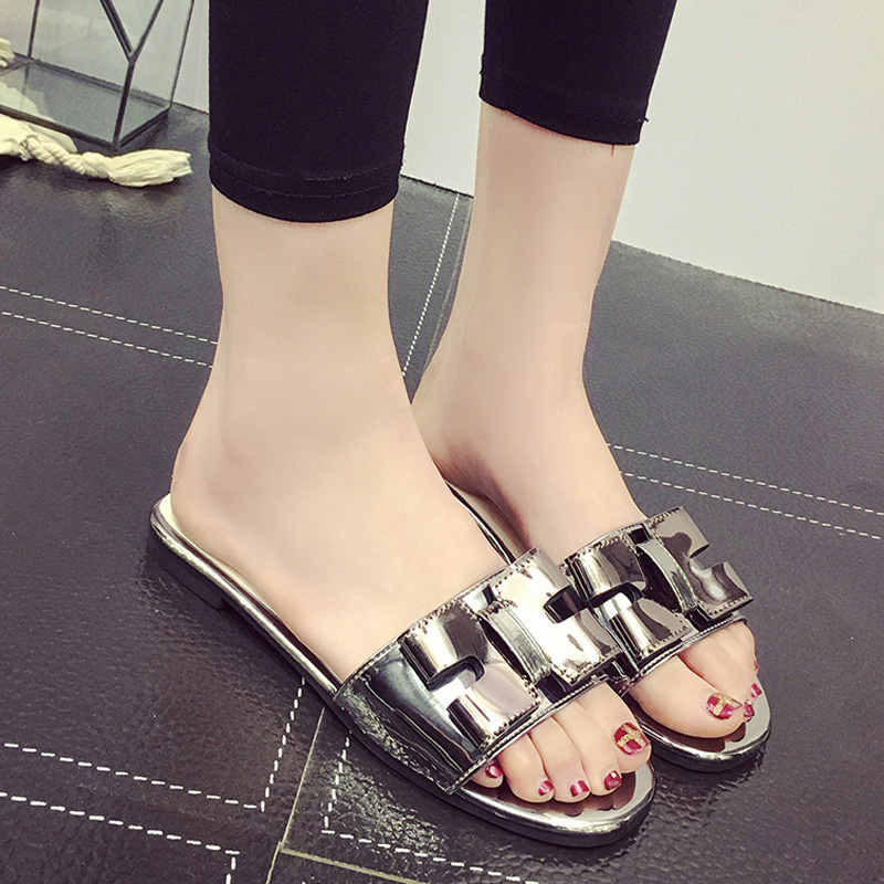 f7626005f Get Quotations · 2016 summer new korean ladies sandals and slippers women  flat slippers word drag sandals and slippers