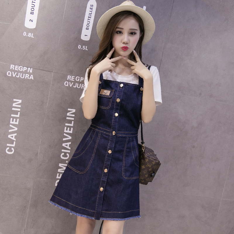 2016 summer new korean loose denim strap dress casual female student was thin female dress harness dress tide