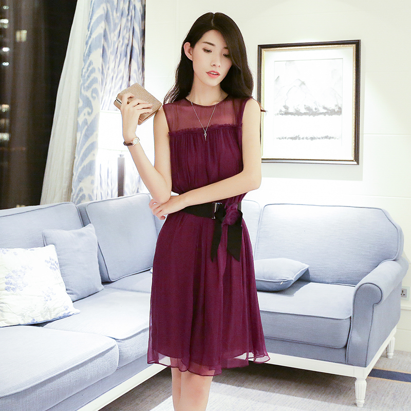 2016 summer new silk shun yu purple stitching perspective sexy sleeveless silk dress YJF9093