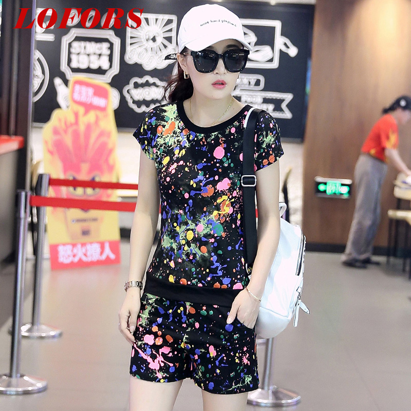 2016 summer new track suit female summer shorts short sleeve cotton piece korean version of casual sportswear jogging