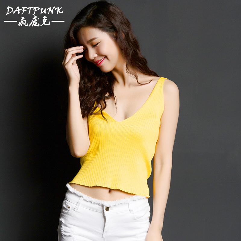 d7a6e744993 2016 summer new v-neck vest female short section exposed navel backless t- shirt
