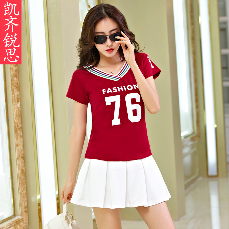 2016 summer sports suit female summer korean letters short sleeve skirt suit skirt sports tennis clothes casual clothing