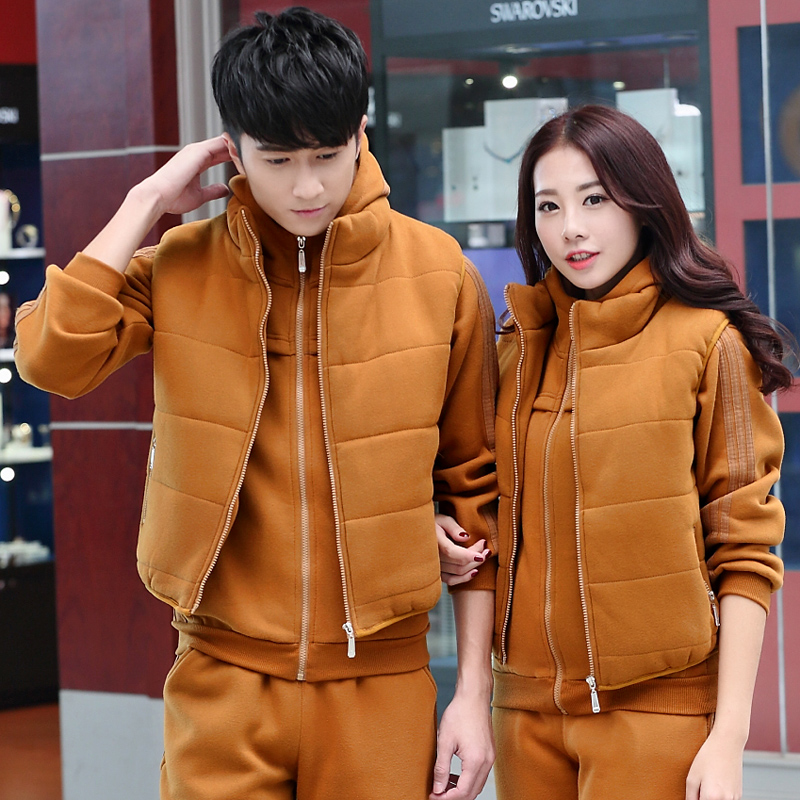 2016 winter lovers sweater three sets plus thick velvet track suit spring and autumn casual student class service men and women