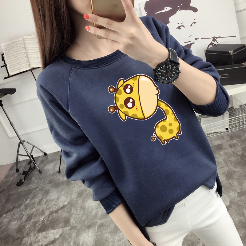 2016 winter new korean students cute cartoon printed sweater female loose hedging round neck long sleeve ladies tide