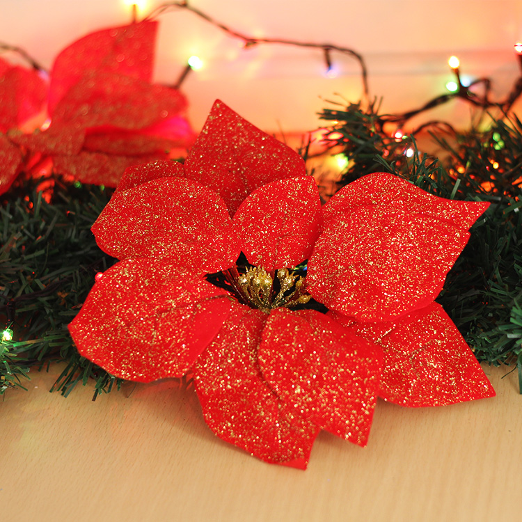 get quotations 22cm diamond velvet christmas flower christmas red christmas flower christmas tree layout decorations hanging