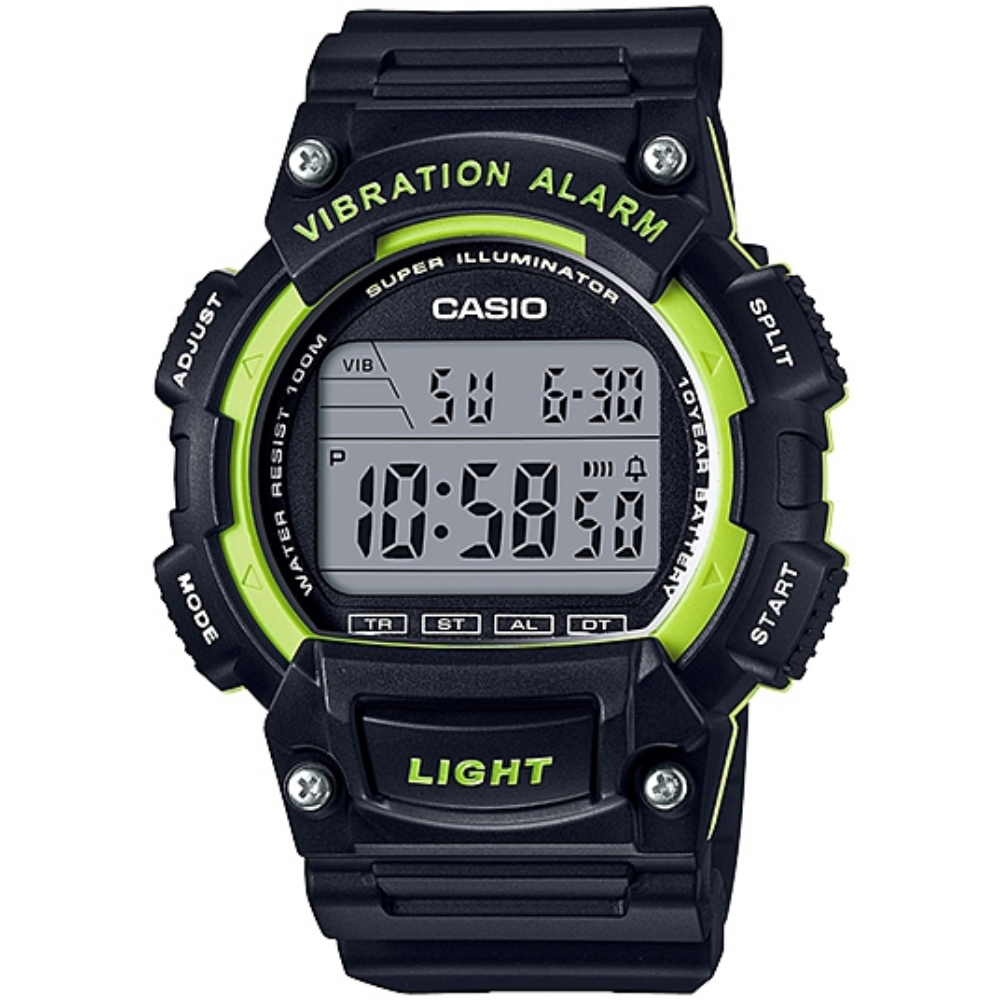 Casio sports watch popular products (black x green) _ W-736H-3A