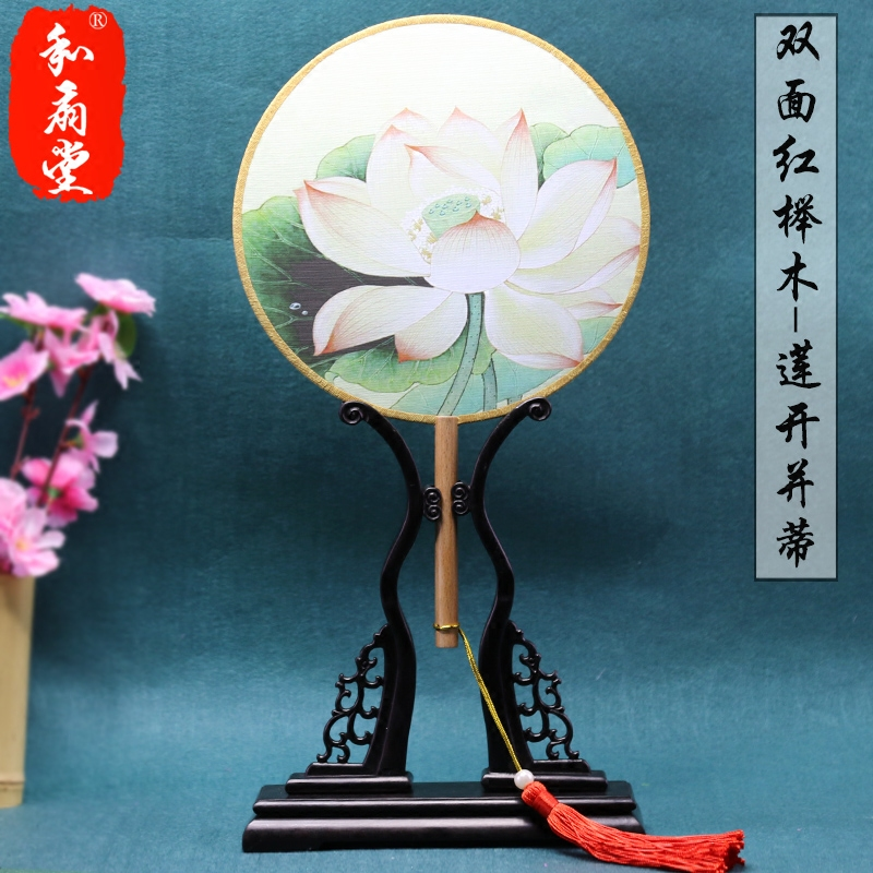 3 to send 1 of the hall red beech wood craft retro ladies round fan dance fan gong shan sided round fan