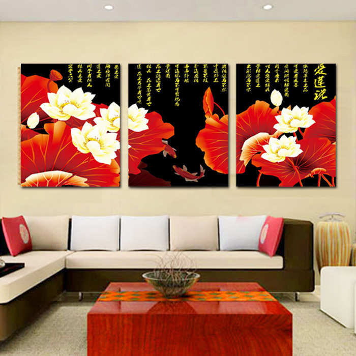3d stitch stitch new living room triptych reminiscence reminiscence calligraphy and painting golden lotus new