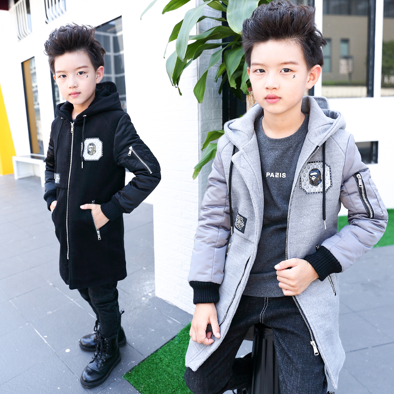 5 fall and winter children wear thick woolen coat boys 2016 new korean version of the 9 years of age in the long woolen coat 10 big boy