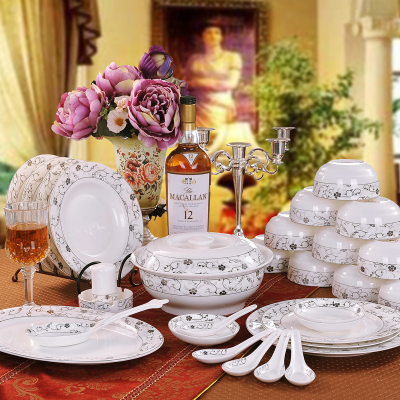 56 bone china tableware suits jingdezhen ceramic tableware dinnerware dishes suit creative bone china tableware vienna